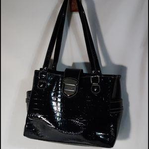 Liz Claiborne Black Snakeskin Design Shoulder Bag